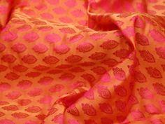 Orange Jacquard Fabric By Yard Wedding Dress Brocade Banarsi | Etsy