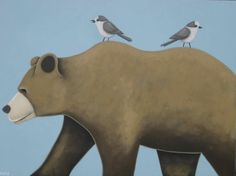 """CAMP-ROBBERS AND THE GET-AWAY BEAR, 36""""x48"""""""