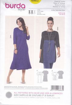 FREE US SHIP Burda 6863 Sewing Pattern Dress Tunic Princess Seams Plus Size 18 20 22 24 26 28 30 32  Bust 40 42 44 46 48 50 52 54 New Uncut by LanetzLiving on Etsy