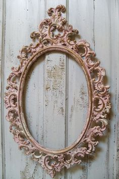 Pink ornate large frame accented white gold by AnitaSperoDesign, $160.00