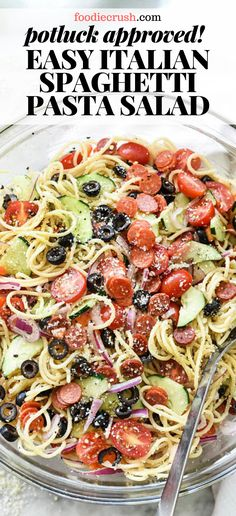 Classic Italian flavors make this super easy spaghetti salad with pepperoni, veggies, and Italian dressing a potluck favorite everyone will love. Best Pasta Salad, Easy Pasta Salad Recipe, Pasta Salad Italian, Pasta Recipes, Cold Spaghetti Salad, Cold Pasta, Pepperoni Pasta Salads, Best Lunch Recipes, Kochen