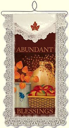 Abundant Blessings lace wall hanging.
