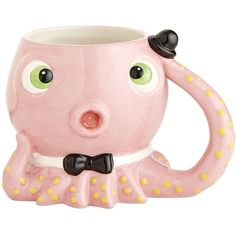 Pier 1 Imports Octopus Mug ($7.95) ❤ liked on Polyvore featuring home, kitchen & dining, drinkware, fillers, mugs, cups, furniture, ceramic cup, pink mug and pink cups
