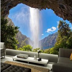 Tapeten Wohnzimmer After mural Gaube waterfall blue sky wallpaper natural landscape bedroom livin Blue Sky Wallpaper, Room Wallpaper, Photo Wallpaper, Wallpaper Murals, Wallpaper Ideas, Amazing Wallpaper, 3d Wallpaper For Home, Bird Wallpaper, Wallpaper Designs