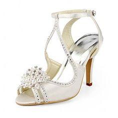 Women's Satin Stiletto Heel Sandals With Imitation Pearl