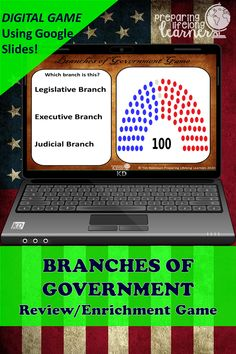 Your middle school social studies students will learn or review the 3 Branches of Government with this fun digital game that uses Google Slides.  Perfect for in class or at home enrichment or review! 3 Branches Of Government, Social Studies Games, Digital Review, Judicial Branch, Enrichment Activities, Executive Branch, Middle School Teachers, Review Games, American Revolution