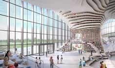 Un occhio gigante 'squarcia' la biblioteca di Tianjin Binhai