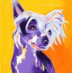 Colorful Pet Portrait Chinese Crested Dog Art Print by dawgpainter