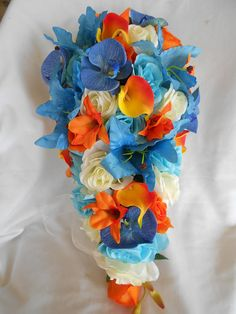 Bridal wedding cascade bouquet Malibu turquoise blue ivory roses and tangerine orange Orchids and calla lilies 2 pieces Blue Orchid Bouquet, Flowers Roses Bouquet, Blue Orchids, Bridal Flowers, Rose Bouquet, Black Bouquet, Cascading Wedding Bouquets, Cascade Bouquet, Bridesmaid Flowers