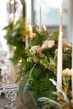 Wedding Centerpiece with Ferns   photography by Julia Franzosa http://juliafranzosaphotography.com Floral Design: Vale of Enna Chicago