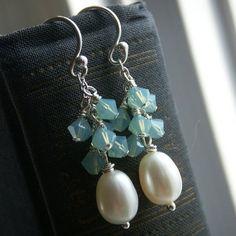 Bridesmaid jewelry, pearl earrings, custom color Swarovski Crystal cluster, sterling