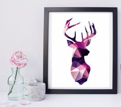 Polygon Purple Deer Instant Download Art Print Modern Buck Silhouette Low Poly Triangle by StudioGlindda on Etsy