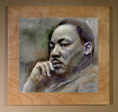 He changed the world forever. Hand finished print mounted on wood board. Approximately 12 inches by 12 inches, and usually a 1 inch border.