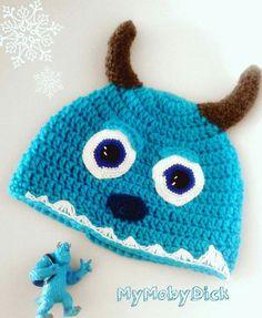 Gorro a crochet, motivo Monstruos S.A.