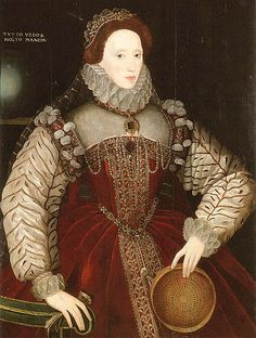 """One of several sieve-themed portraits of Queen Elizabeth I. """"The sieve is a symbol of chastity and purity, originally taken from Petrarch's 'Triumph of Chastity'. In the story, a Roman Vestal Virgin proves her purity by carrying water in a sieve and not spilling one drop. The sieve thus reinforces Elizabeth's image as 'the virgin queen' """". -Cody"""