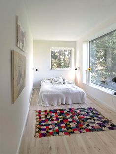 Shipping container bedroom inside view - good idea of the space available around a bed