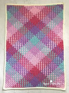 Crochet color pooling with Caron Simply Soft Stripes - Repeat Crafter MeCrochet Color Pooling Blanket Pattern With Caron Simply Soft Stripes Yarn - Repeat Crafter Me Striped Crochet Blanket, Crochet Blocks, Crochet Blanket Patterns, Crochet Stitches, Crochet Afghans, Crochet Blankets, Plaid Crochet, Baby Blankets, Baby Patterns