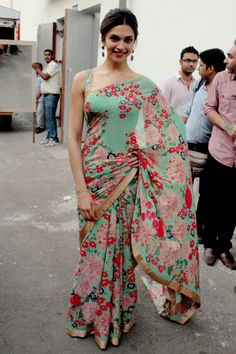 I must have this sari! Deepika doing justice to this floral beauty!