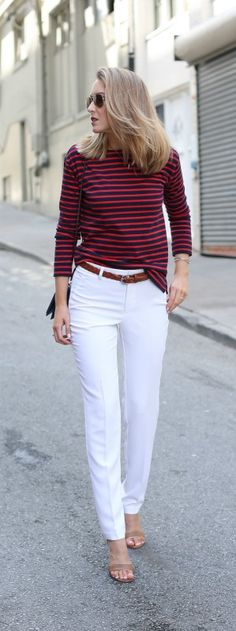 red and navy striped long sleeve tee, white silk pants, nude ankle strap heeled sandals, navy cross body bag, braided belt + aviator sunglasses {everlane}