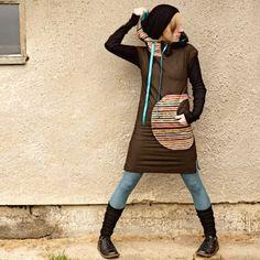 We're Like Striped Shells - šatičky s kapucou / Zboží prodejce odsvetlusky Diy Fashion, Womens Fashion, Sporty Chic, High Neck Dress, Hoodies, Sewing, Hippy, My Style, Skirts