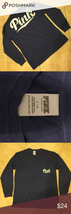 Vs Pink medium blue long sleeve crew neck VGUC Campus crew soft cotton size medium can fit large! Check out the matching pants too! PINK Victoria's Secret Tops Tees - Long Sleeve