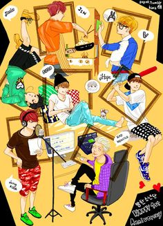 BTS fanart. This is sooo cute!