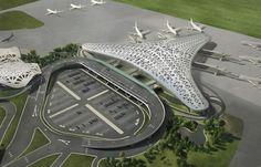 Heydar Aliyev International Airport New Terminal Baku. great main road