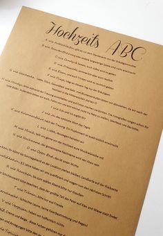 Ihr möchtet euren Gästen ein Hochzeits-ABC erstellen, habt aber noch keine Idee? Dann schaut bei uns vorbei.... Inspirationen | Tipps | Beispiele & Ideen Foto © Svenja van Aken
