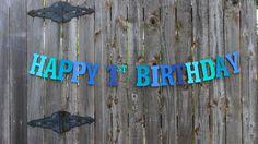 Happy 1st Birthday Banner, Personalized Birthday Banner, Under the Sea Party, Blue Birthday Banner, Baby Boy 1st Birthday, Nautical Birthday(Etsy のMailboxHappinessより) https://www.etsy.com/jp/listing/242097395/happy-1st-birthday-banner-personalized