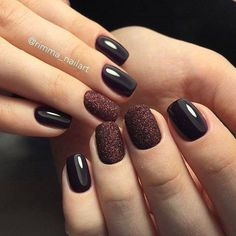 99 Beautiful Nail Art 2019 Trends Ideas For Winter Although women tend to neglect their nails during the colder months, it is the most important time to take care of your nails! As you know, the cold a. Brown Nail Art, Brown Nails, Cute Nails, Pretty Nails, Hair And Nails, My Nails, Dark Gel Nails, Fall Nails, Popular Nail Colors
