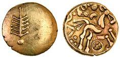 Dobunni, Corio (c.20 BC-AD 5), gold Stater, 5.53g, tree-like emblem, rev. co[rio], triple tailed horse right, above and wheel below, symbols in fields (Mack 393; BMC 3064-3133; Rudd ABC 2048; S.386), very fine
