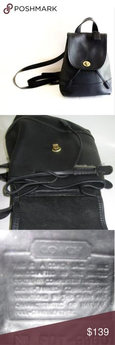 Coach Vintage Black Leather Backpack Drawstring closure. In used condition, smoke free home. NO major structural issues, no holes, no rips. Signs of use are on leather out and in, please see pics on bottom of bag. I left a chapstick in the inside zip pocket see pic, the rest of the bag is in good shape. I turned the bag inside out to show inside. Gold hardware. SO cute!!! Coach Bags Backpacks