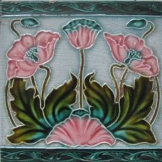 This a well known Richards design ,but I have not seen this version with the added blue boarders this design reference is 278 in my book.Art Nouveau Tiles with Style. Antique Tiles, Vintage Tile, Antique Art, Antique Pottery, Vintage Art, Art Nouveau Tiles, Art Nouveau Design, Design Art, Motifs Art Nouveau