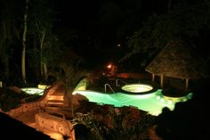Take a dip in the pool at night.