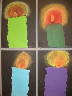1.lk kynttilä.Väripaperista repien, liekki ja kajastus pölypastelliliiduilla.