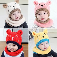 30d29eb61e8 Winter Warm Crochet Knit Hat Beanie Cap And Scarf For Toddler Kids Girl Or  Boy