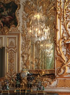 Munich Residenz (Münchner Residenz, Munich Palace) the former royal palace of the Bavarian monarchs in the center of  Munich, Germany. 1726-37: installation of the Reiche Zimmer (Ornate Rooms)