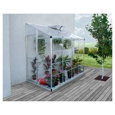 Mini serre de jardin adossée Lean To Grow m² - Aluminium et polycarbonate Lean To Greenhouse, Greenhouse Plans, Cheap Greenhouse, Backyard Greenhouse, Greenhouse Wedding, Small Greenhouse Kits, Greenhouse Kitchen, Pallet Greenhouse, Greenhouse Farming