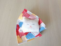 First Baby Toy / Soft toy white cat colorful , security blanket , cotton flannelette sensory toy baby shower gift. $22.00, via Etsy.