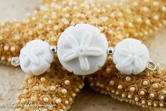 Handmade Lampwork Beads, Sand Dollars, Soft White Beach Glass, Focal and Earring Pair via Etsy