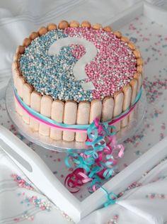 Wordt het een jongen of een meisje?  Bij het zien van de roze of blauwe binnenkant na het aansnijden van deze geboorte taart, met roze en blauwe muisjes, zal iedereen het weten!