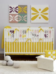 Cute, bright nursery! Love that yellow. would work for a boy and girl nursery too.