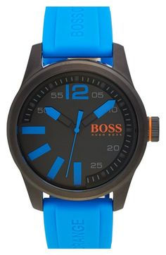 BOSS+Orange+'Paris'+Silicone+Strap+Watch,+44mm+available+at+#Nordstrom