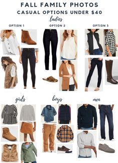 Affordable Outfits for Fall Family Photos - casual style Casual Family Photos, Fall Family Picture Outfits, Family Photo Colors, Family Portrait Outfits, Family Photos What To Wear, Fall Family Portraits, Summer Family Photos, Fall Photos, Fall Family Pictures