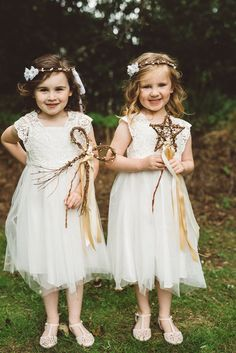 Flower Girls Wands Ribbons Whimsical Boho Woodland Wedding http://katmervynphotography.com/
