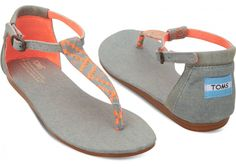 OH HELLO pops of neon! TOMS Neon Denim Women's Playa Sandals
