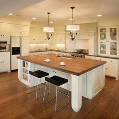 Ivory kitchen with wood