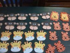 Caritas de animales de selva para distintivos en foami