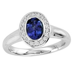 Find this .68ct Oval Tanzanite Ring With .13ctw Diamonds in 14k White Gold for just $569.99.