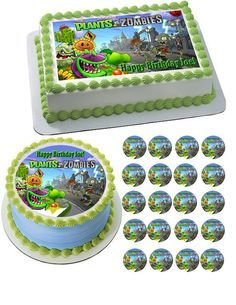 Plants vs Zombies 1 Edible Birthday Cake Topper OR Cupcake Topper, Decor - Edible Prints On Cake (Edible Cake &Cupcake Topper) Plants Vs Zombies, Zombies Vs, Cupcake Birthday Cake, Birthday Cake Toppers, Cupcake Cakes, Cupcakes, Edible Cupcake Toppers, Edible Cake, Baby Boy Cakes